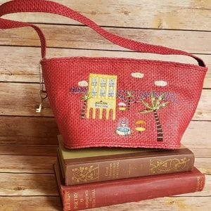 Forever by Fossil Woven Red Purse Travel Bag  EUC